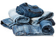 Stack of blue jeans - 78606626