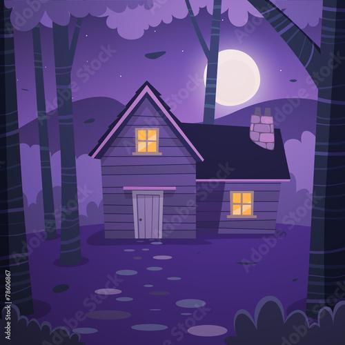 Foto Spatwand Violet Cabin in woods