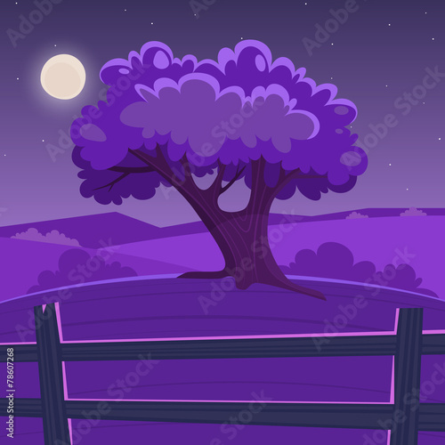 Foto op Canvas Violet Cartoon Landscape