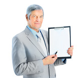 businessman at the age, shows the plan of work.