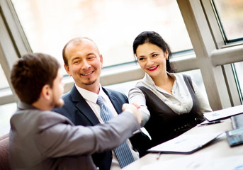 Mature businessman shaking hands to seal a deal