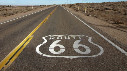 Route 66 Pavement Sign with Zoom