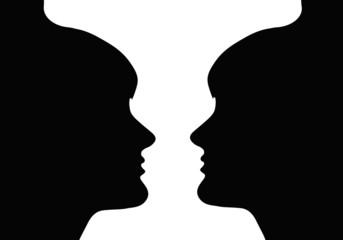Ilusión óptica, figura y fondo, copa, caras, ilustración