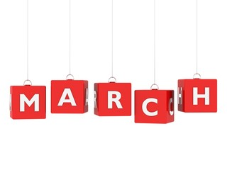 March tag on red hanging cubes.