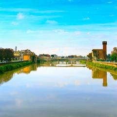Pisa, Arno river and bridge. Lungarno view. Tuscany, Italy