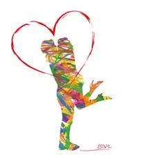 silhouette astratta di innamorati