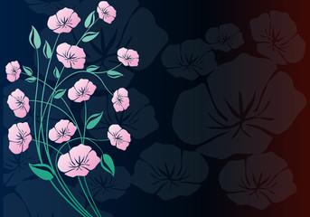 Koyu arka fon ve bir tutam çiçek