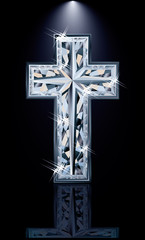 Christian diamonds Cross, vector illustration