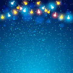 Colored garland in blue background. Vector EPS10.