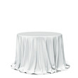 Big white round table and cloth