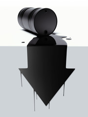 Barrel with spilled oil in the form of arrow