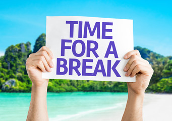 Time for a Break card with beach background