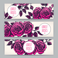 three beautiful card with roses
