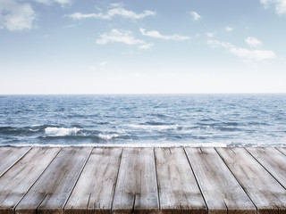 Sky and ocean with wooden berth