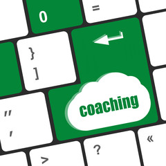 Coaching Button on Modern Computer Keyboard with Word