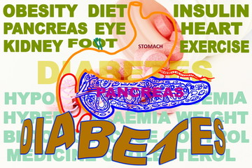 diabetes related  icon  pancreas  stomach with medicine