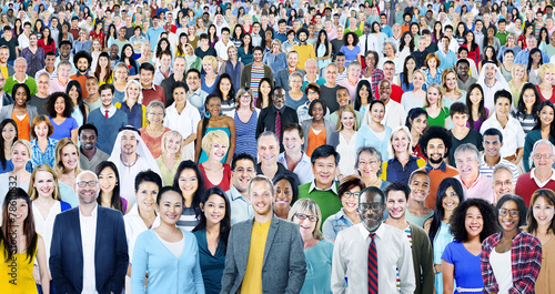 Large Group of Diverse Multiethnic Cheerful People Concept - 78610832