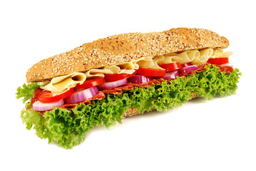 Ham & cheese baguette sandwich