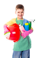 Happy boy with cleaning tools