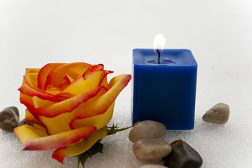 Rose, stone, and candle spa setting