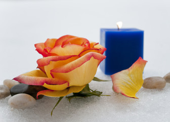Rose, candle, and stone setting