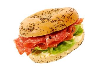 Salami ham bagel sandwich