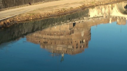 Reflection of the Castel Sant'Angelo in the river Tiber. Rome