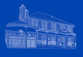 Custom White House Drawing on Blue