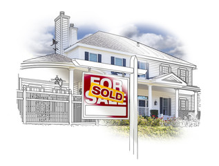 House and Sold Sign Drawing and Photo on White