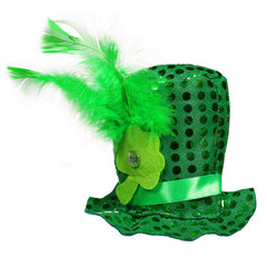 St. Patrick's Hat with feathers and clover leaf isolated white