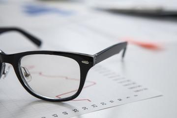 Glasses on the office desk