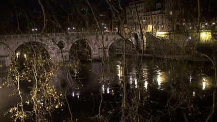 Bridge Ponte Sisto over the river Tiber at night. Rome