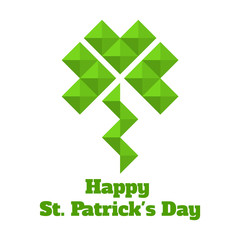 greeting card for St. Patrick. Leaf clover of triangles.