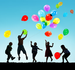 Kids Happiness Multiethnic Group Cheerful Playing Concept