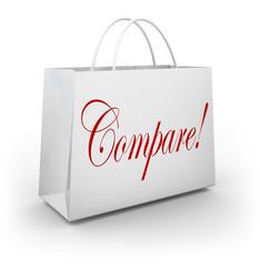 Compare Word Shopping Bag Find Choose Best Bargan Deal Sale
