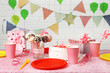 Obrazy na płótnie, fototapety, zdjęcia, fotoobrazy drukowane : Prepared birthday table for children party