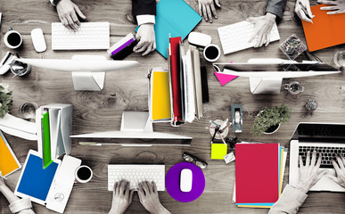 Group Business People Working Office Desk Concept