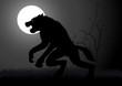 A werewolf lurking in the dark during full moon - 78613474