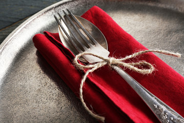 Silverware tied with rope