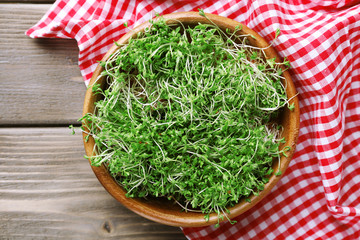 Fresh cress salad in bowl on napkin and wooden planks