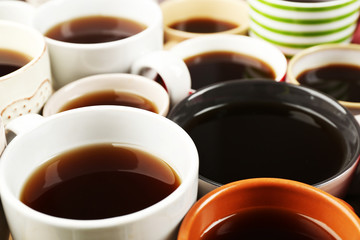 Many cups of coffee, closeup view