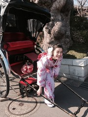 girl and rickshaw,japan