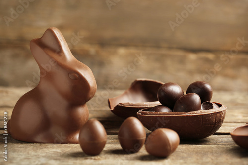canvas print picture Chocolate Easter Eggs on wooden background