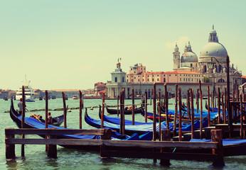 Gondolas moored. Basilica di Santa Maria della Salute