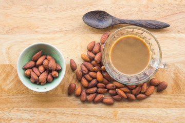 Almonds and hot coffee for healthy