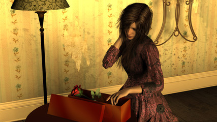 Young Woman opening a Gift Box with Red Rose