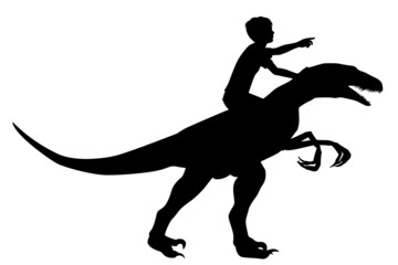 Boy riding raptor