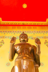 close up for standing and show two hand buddha statue