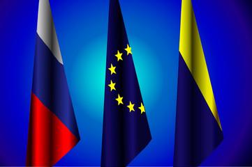 Vector illustration. Flags of Russia, EU, Ukraine