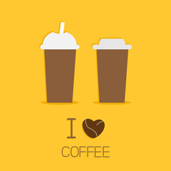 Two disposable coffee paper cups I love coffe heart sead Flat